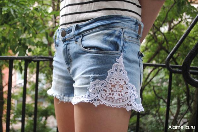 Как сделать джинсовые шорты с кружевом своими руками 2 85