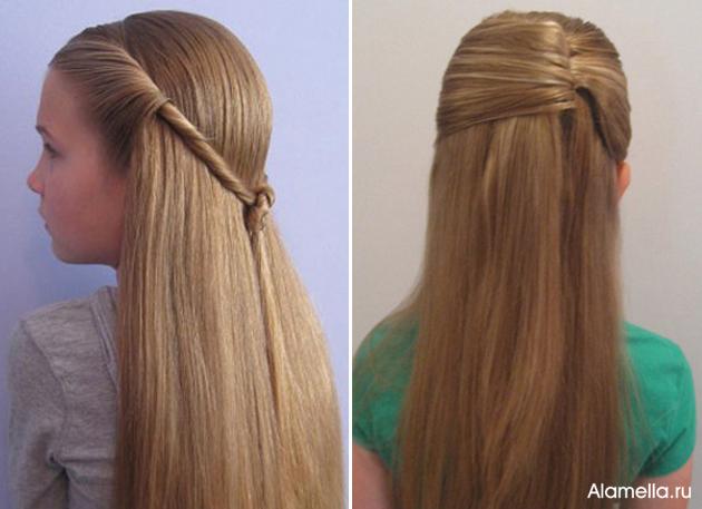 Причёска на длинные распущенные волосы своими руками