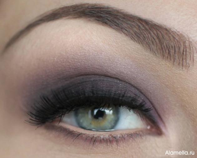 Макияж для серых глаз. Фиолетовый макияж поэтапно.