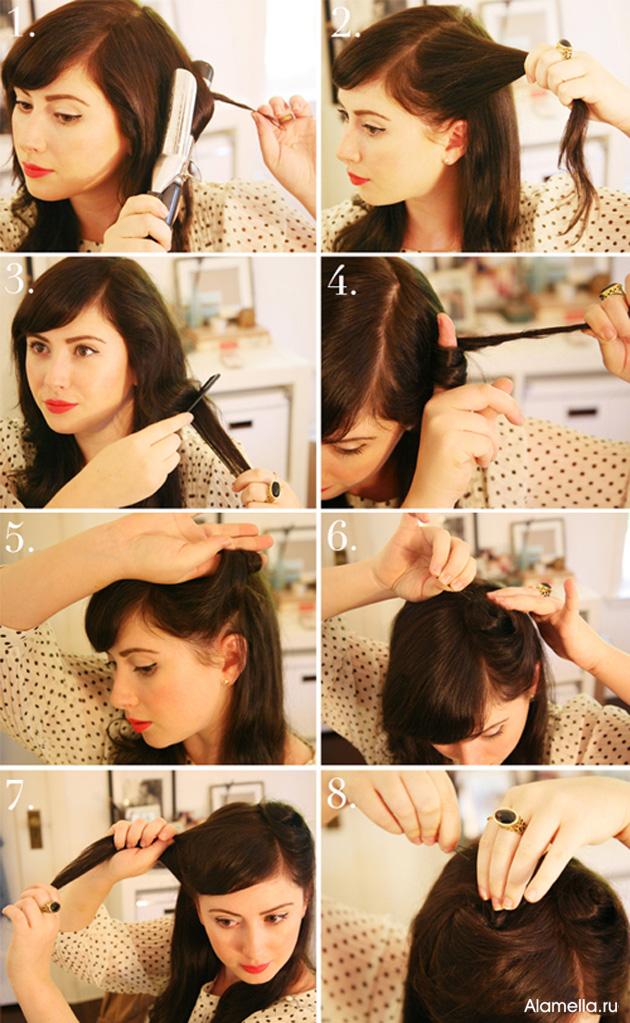 ретро прическа на средние волосы своими руками