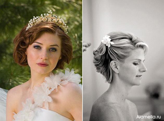 Прически на свадьбу невесте на короткий волос