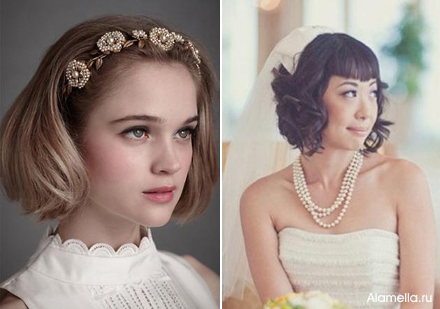 Свадебные прически на каре: фото и идеи укладок