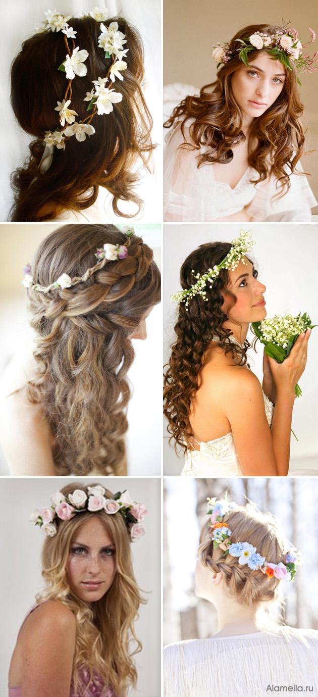 Свадебные прически для длинных кудрявых волос