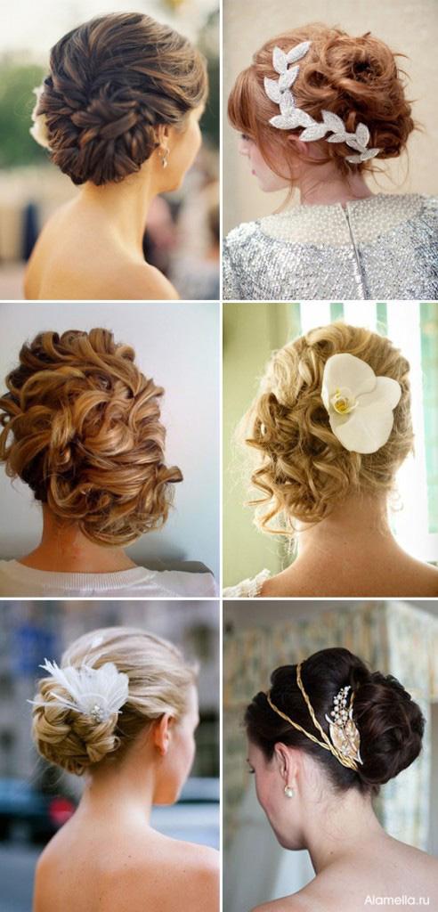 Свадебные прически на среднюю длину кудрявых волос